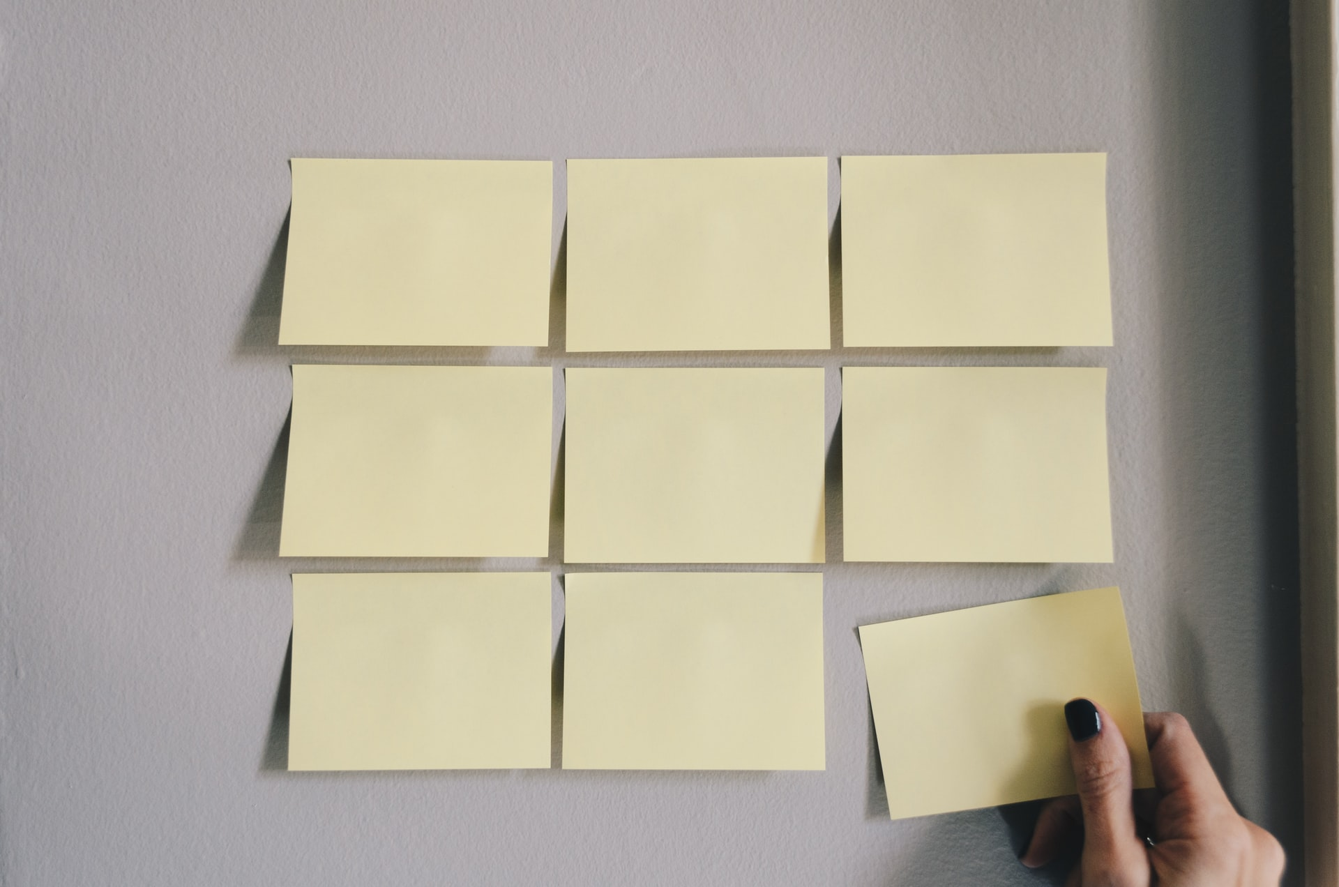 Wall with 3 by 3 yellow sticky notes
