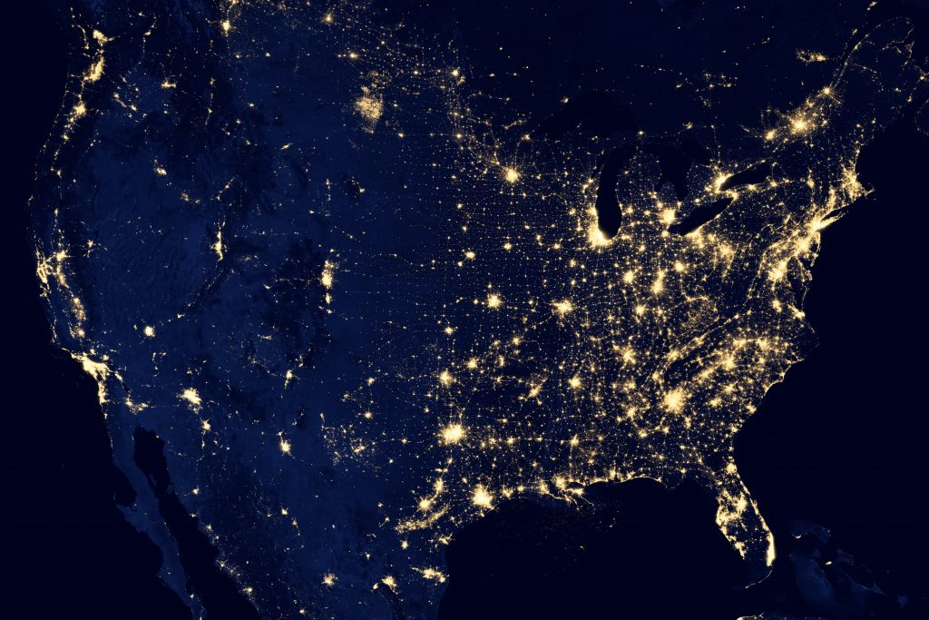 Map of USA from space with all the lights on at night